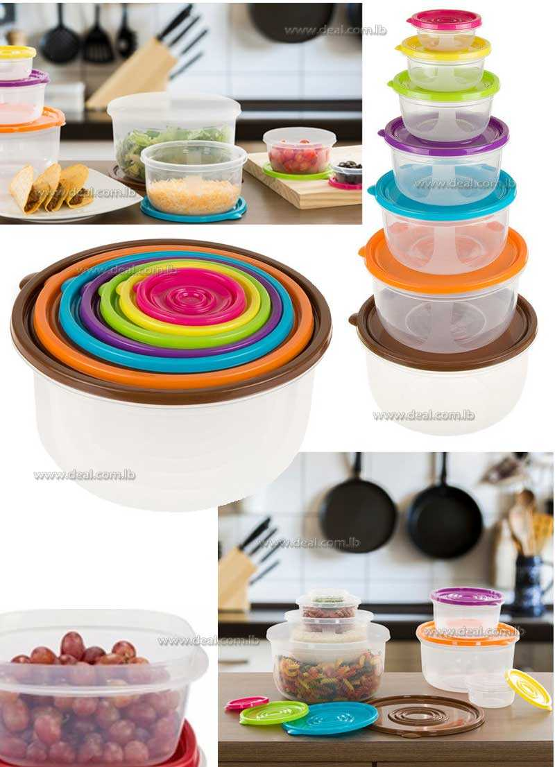 Classic Cuisine Round Shape 14 Piece Colored Food Storage Set