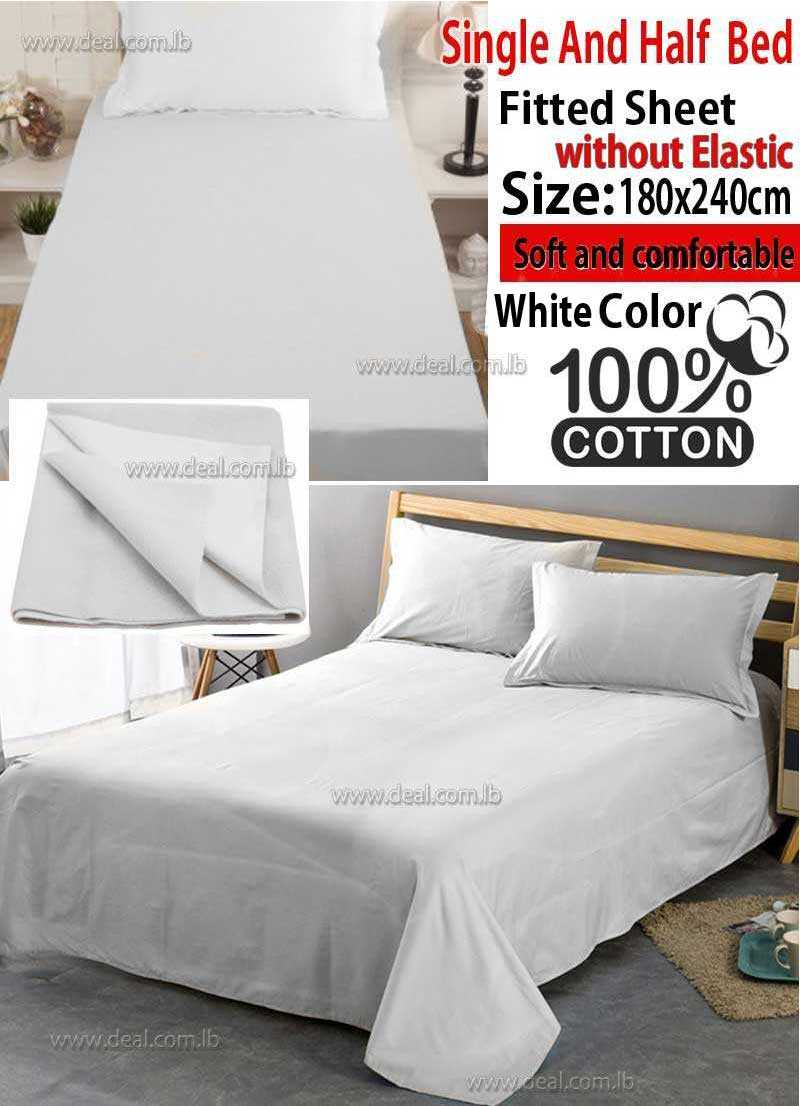 Classic Fitted Sheet 1pc White Color Without Elastic