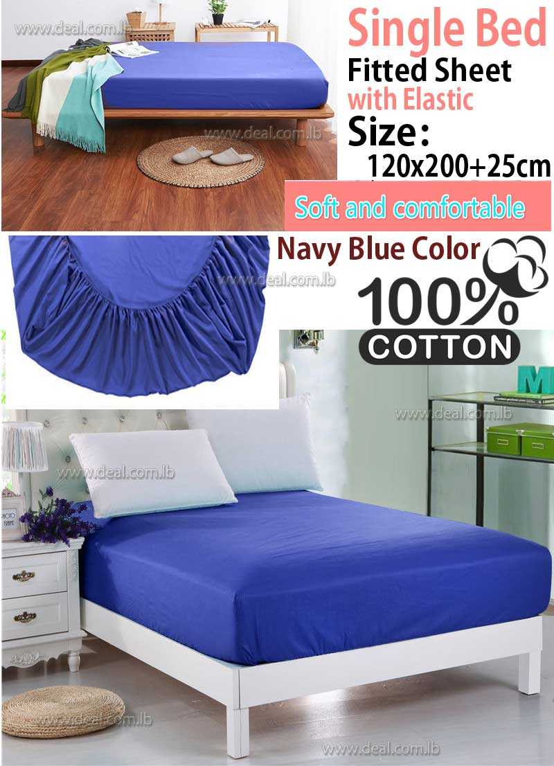 Classic Navy Blue Fitted Sheet With Elastic