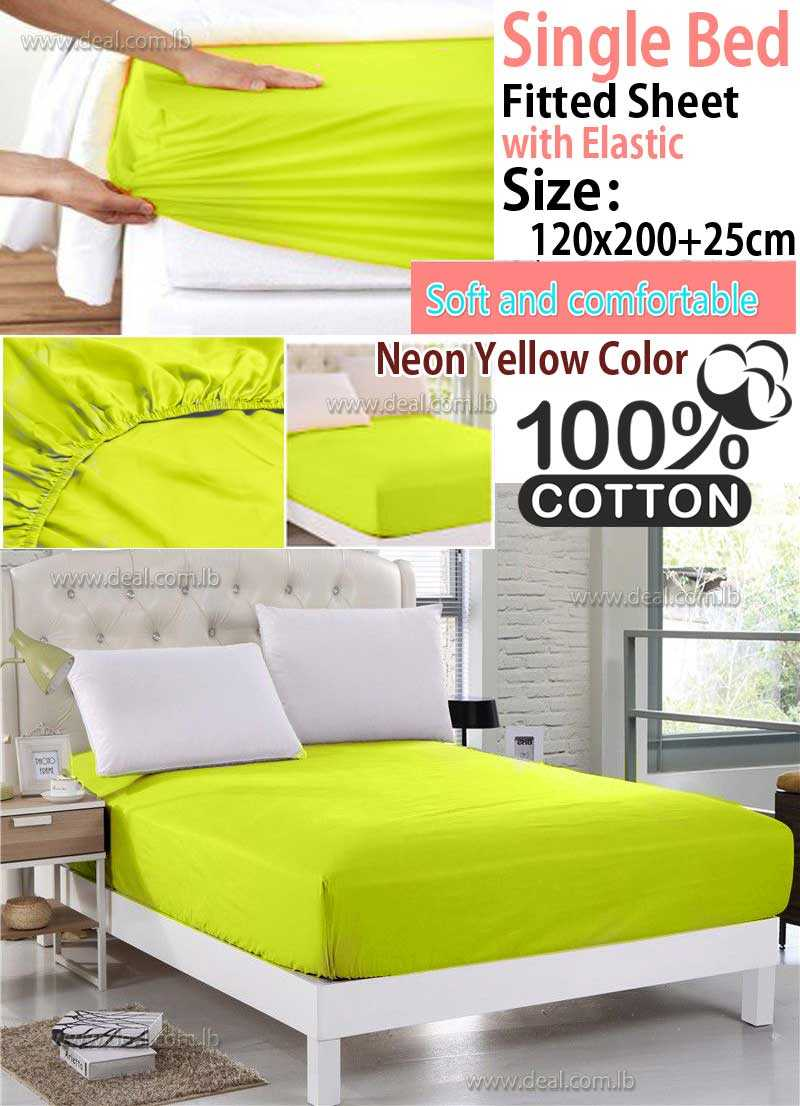 Classic Neon Yellow Fitted Sheet With Elastic