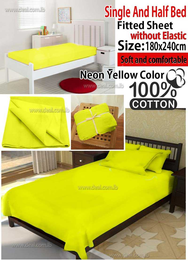 Classic Neon Yellow Fitted Sheet Without Elastic