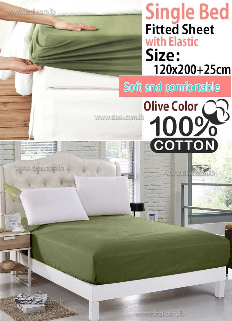 Classic Olive Fitted Sheet With Elastic