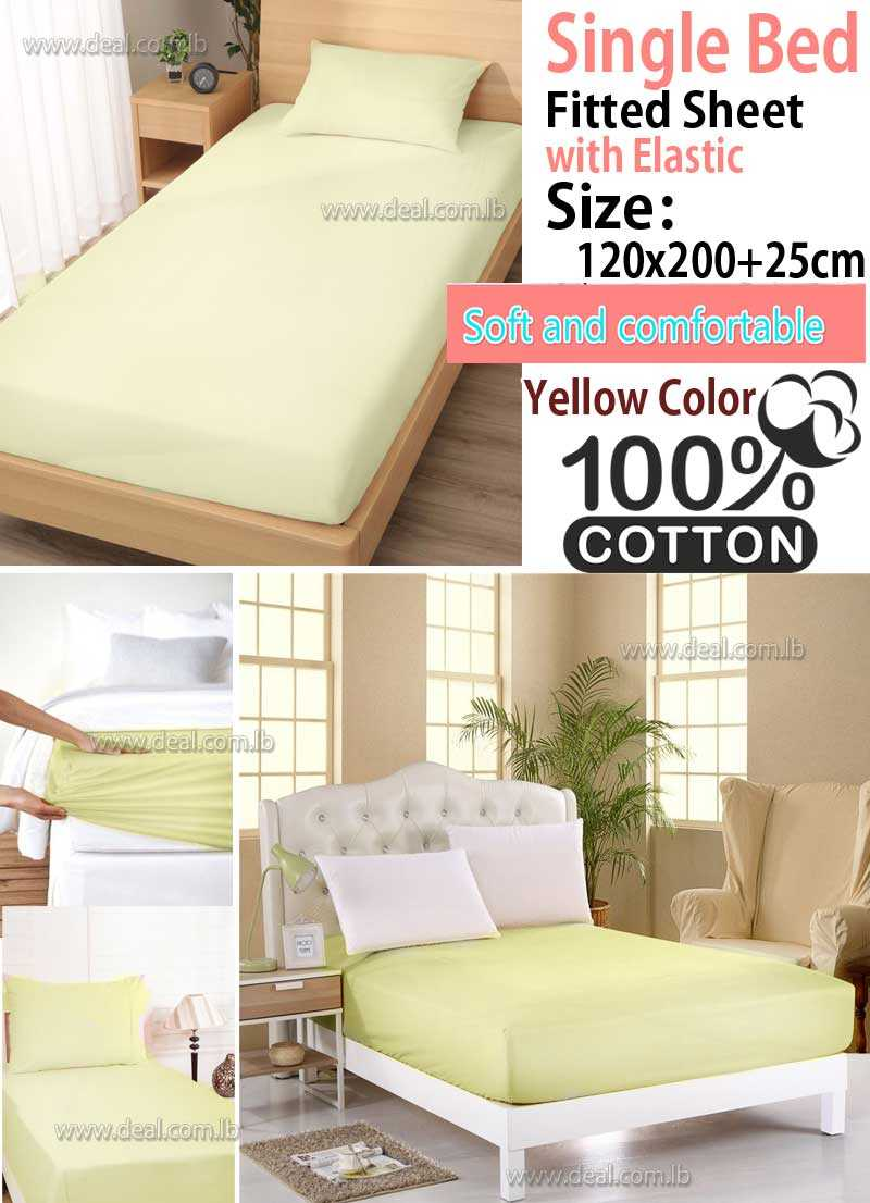Classic Yellow Fitted Sheet With Elastic