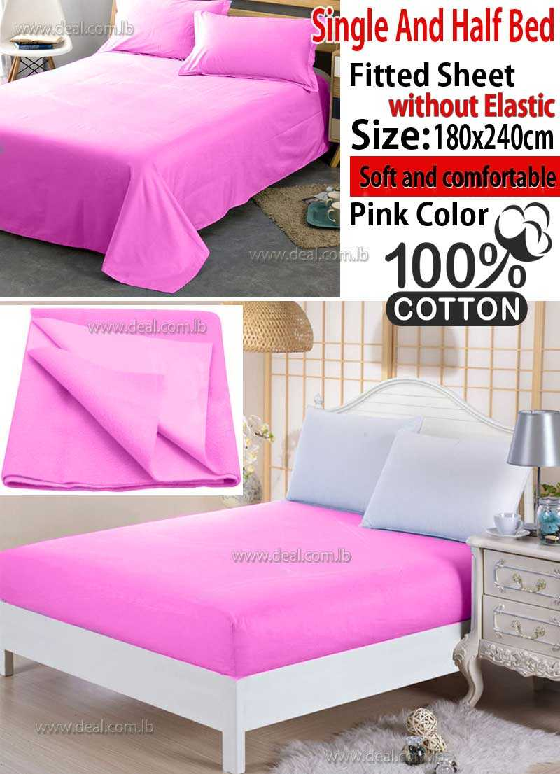 Classic Pink Fitted Sheet Without Elastic