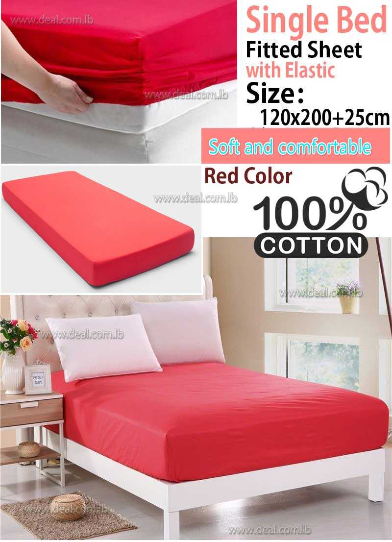 Classic Red Fitted Sheet With Elastic