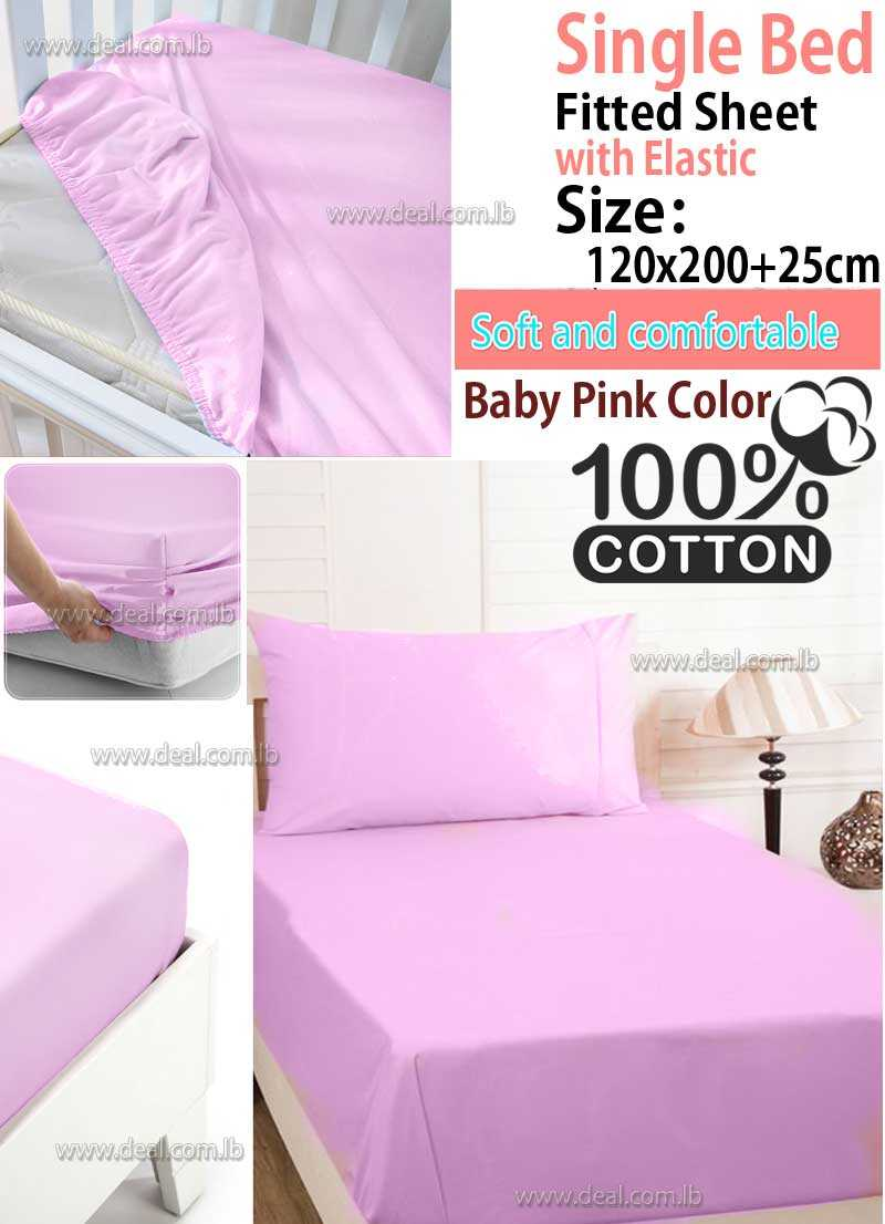 Classic baby Pink Fitted Sheet With Elastic