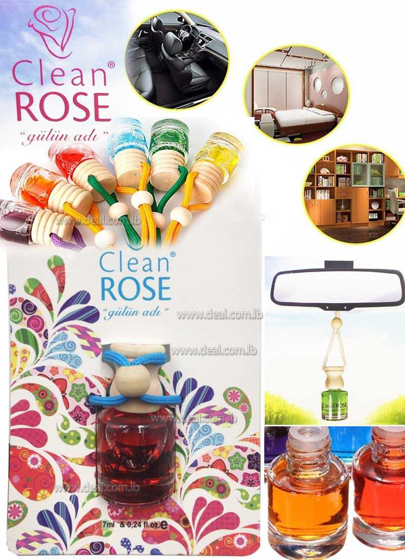 Clean Rose Hanging Car Perfume Vehicle Oil Air Freshener Glass Bottle