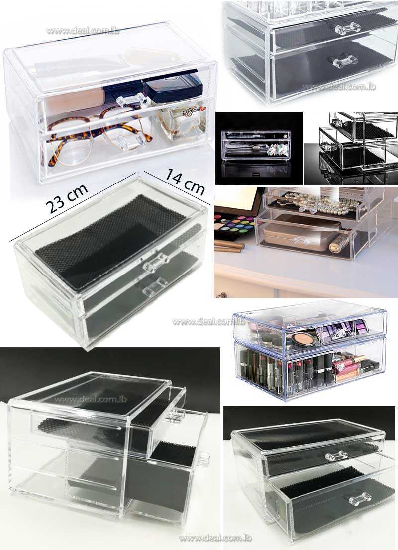 Clear Cosmetic Makeup Jewellery Display Drawers Storage Organizer Acrylic