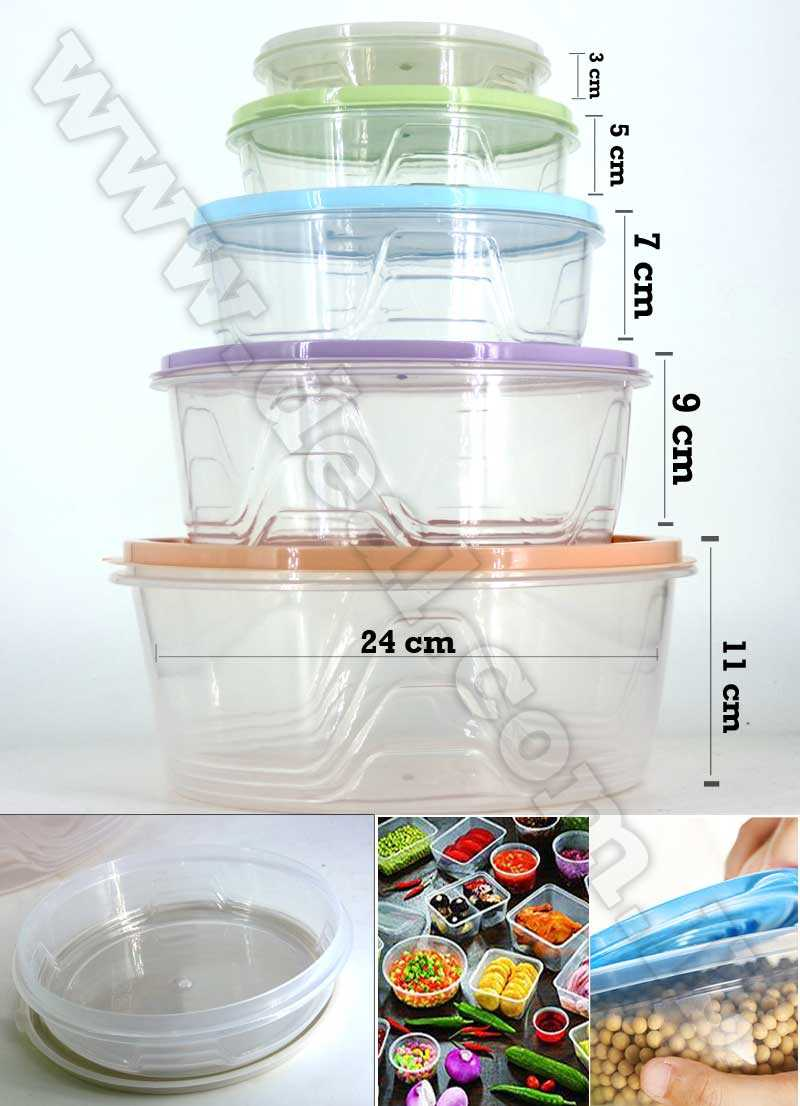 Clear Plastic Containers Set  Round Tupperware Food