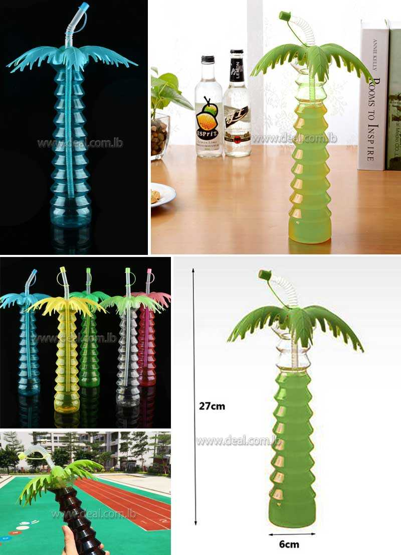 Coconut Tree Plastic Cup Juice Drinking Bottle for Hawaii Luau Summer Beach Party Decoration