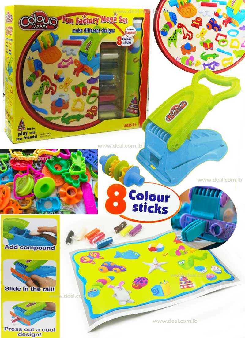Colour Dough Fun Factory Mega Set Make Different Designs