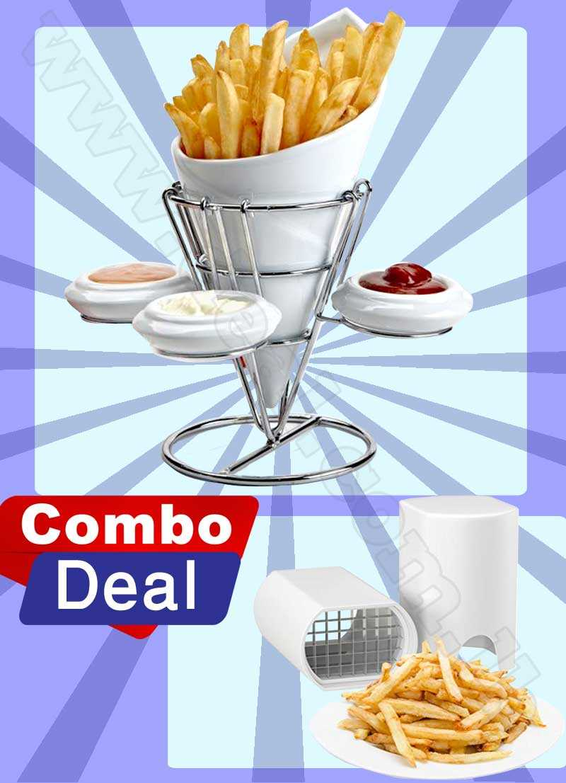 Combo Deal  Ceramic French Fries along with 3 Dip Sauce bowls With Natural Cut For Fries
