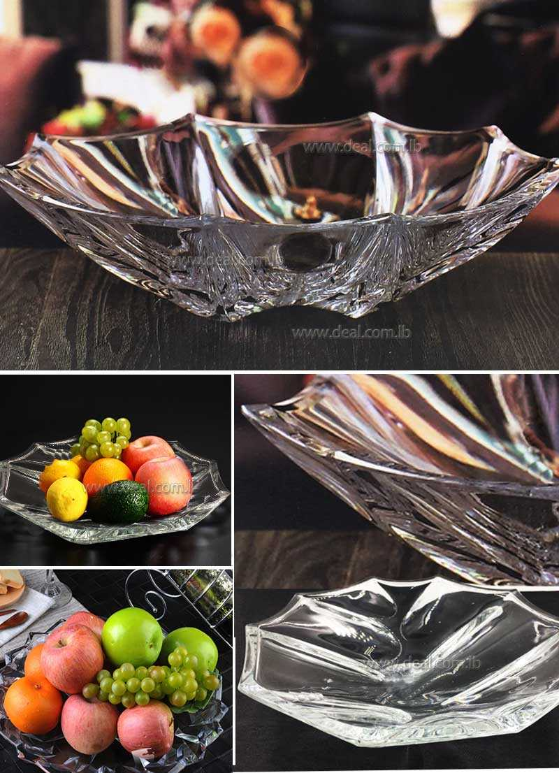 DELISOGA Aesthetic durable crystal clear big GLASS FRUIT plate