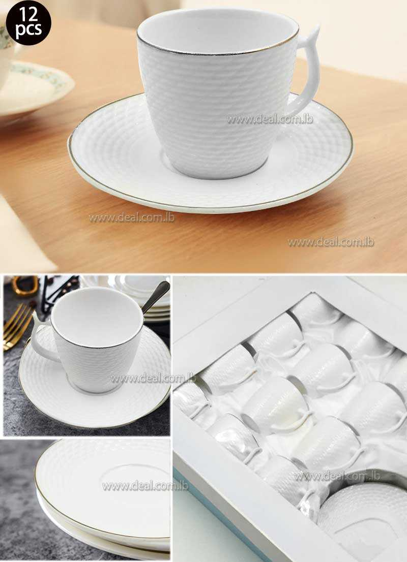 12 pcs porcelain white arabic home coffee cupsS