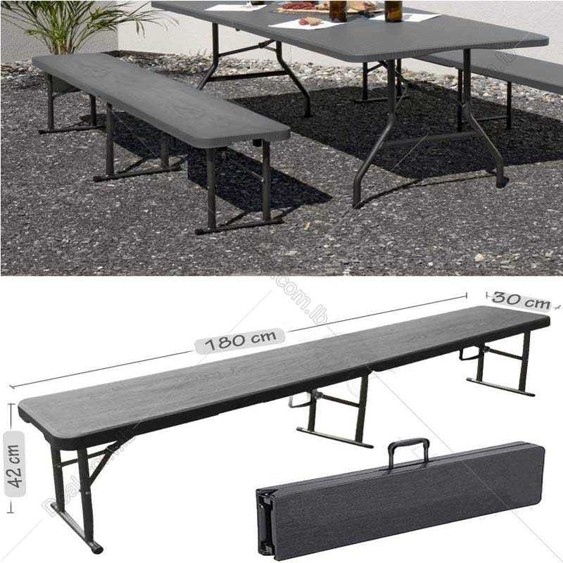 Dark Gray Bench Camping Plastic Folding Portable Picnic Garden