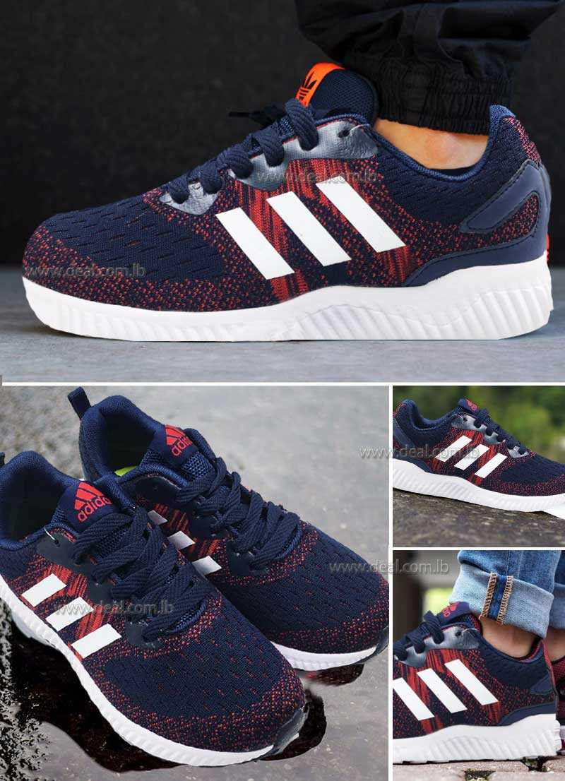 Dark blue and red adidas ruining shoes