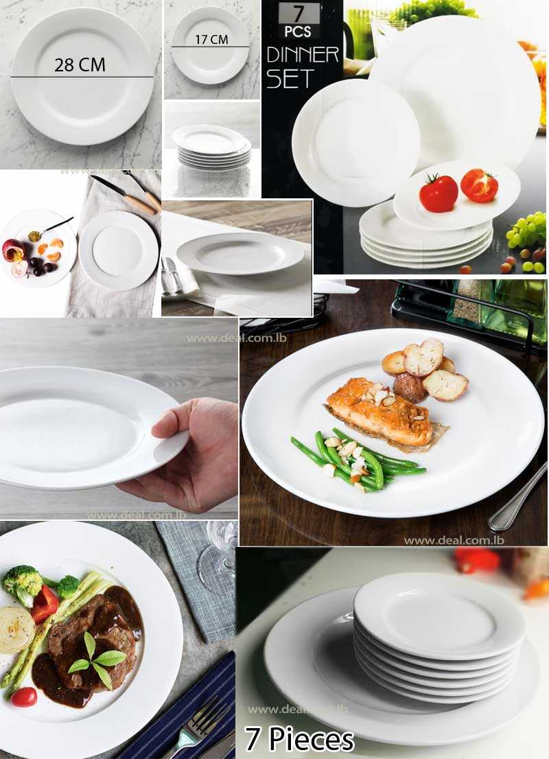 Dinner Set Of 7 Pieces Round Flat Plate White Porcelain