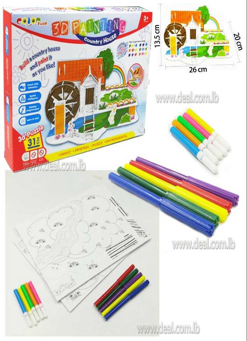 Diy painting 3D Country House Puzzle toys