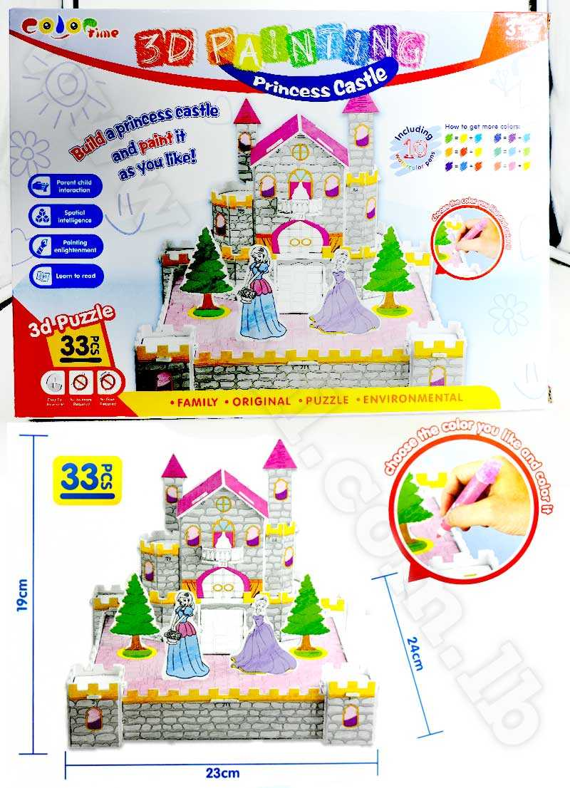 Diy painting 3D Princess Castle Puzzle toys