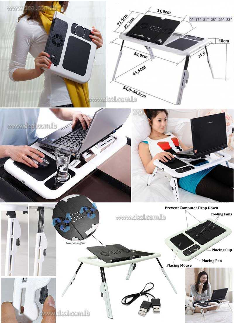 E TABLE Portable Foldable Laptop Notebook Table & Cooler Cooling Fan