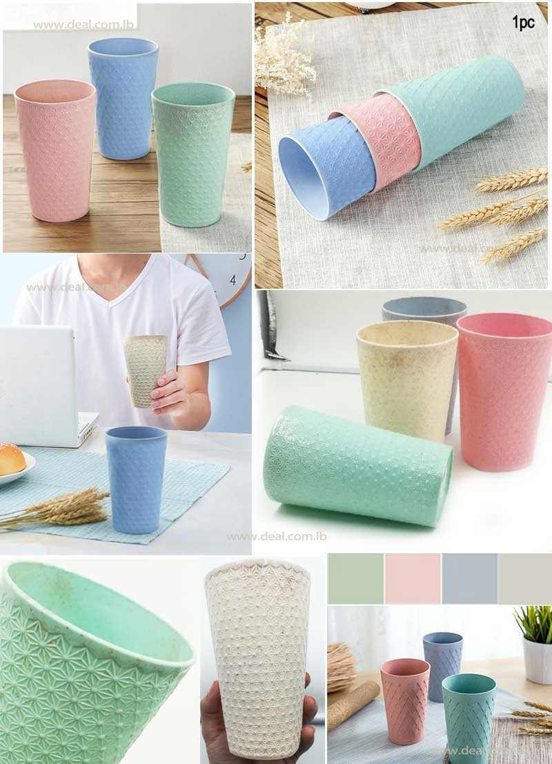 Eco+Friendly+Eur+Style+Wheat+Straw++Plastic+Cups