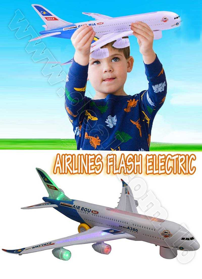 Electric Airplane Running Flashing Lights Music Airbus A380