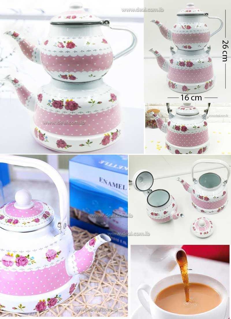 Enamel Pink Decorated Teapot 1.1L And 2.5L
