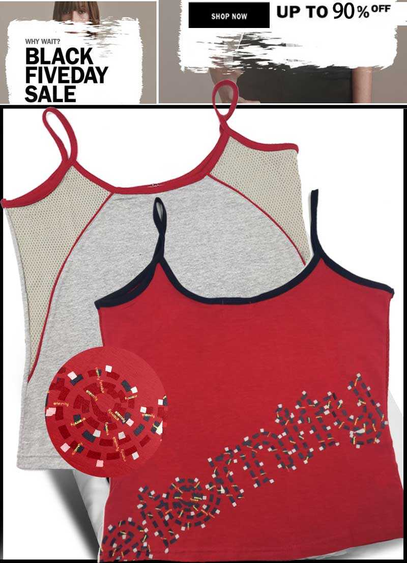 Eternity Red and gray sleeveless sportive Tops