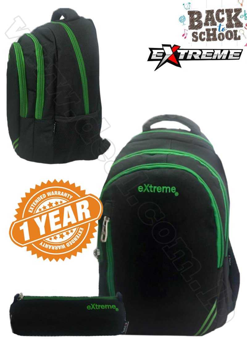 Extreme 3 Pocket Black And Green School Bag With Pencil Case