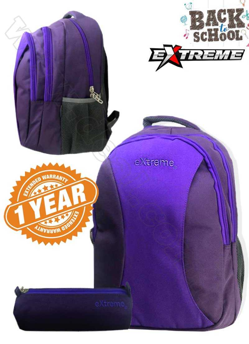 Extreme 3 Pocket Purple School Bag With Pencil Case