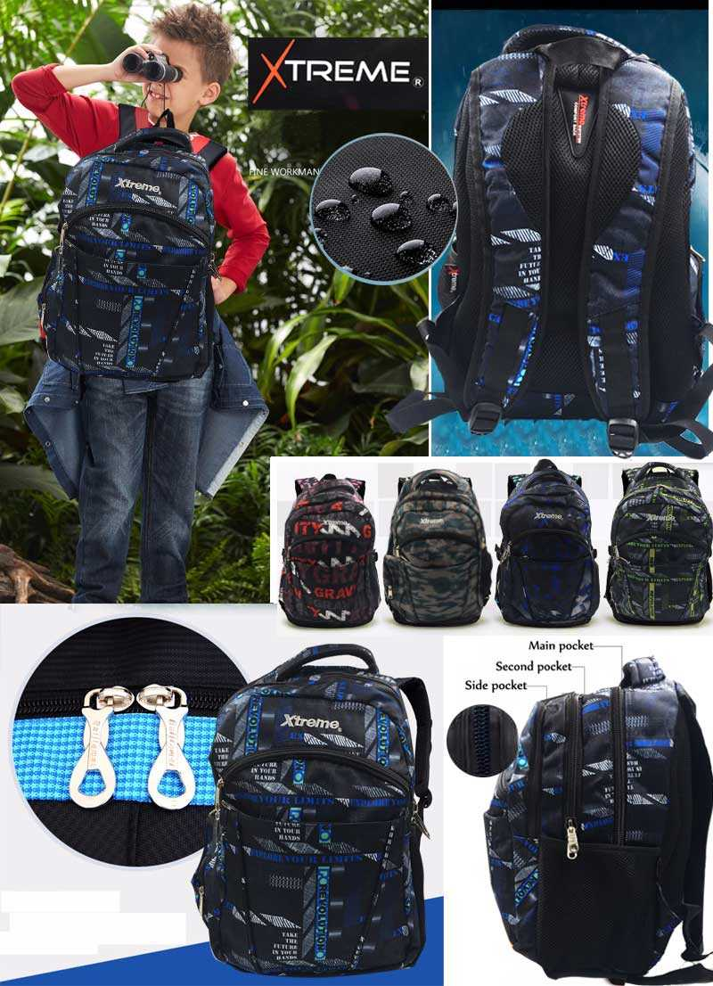Extreme 3 pockets children backpack bag boys and girls teenagers bag