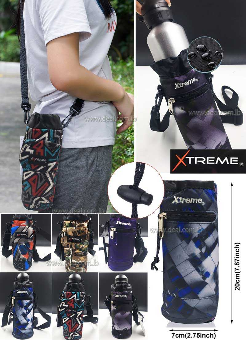 Extreme Water Bottle Carrier,Insulated Neoprene Water bottle Holder Bag Case Pouch Cover 500ML Adjustable Shoulder Strap, Great for Stainless Steel and Plastic Bottles Energy Drinks