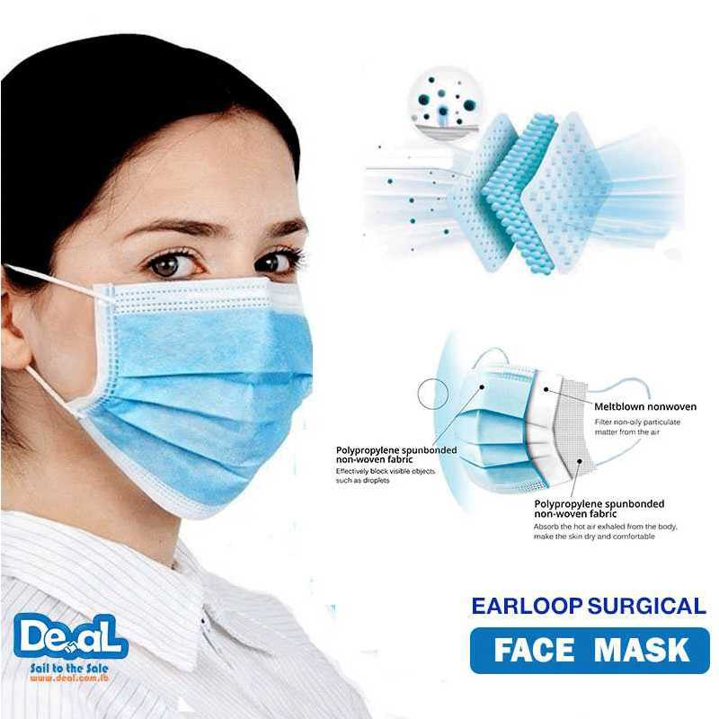 FACE MASK EARLOOP SURGICAL 3 LAYER