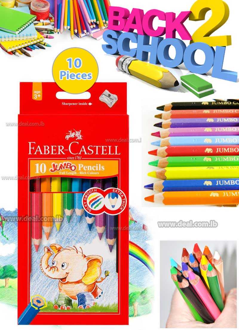 Faber-Castell Jumbo Colour Pencils Assorted 10 Pack