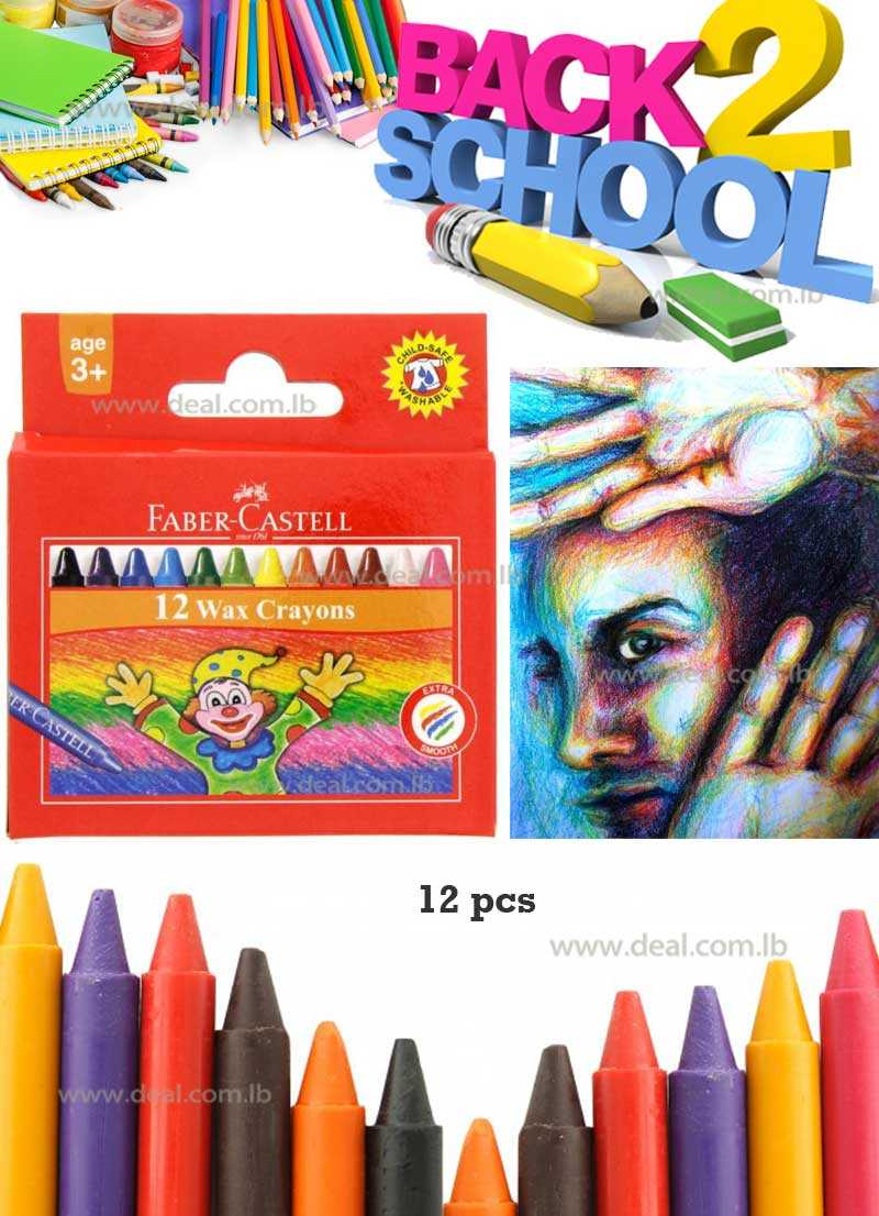 Faber Castell Wax Crayons 12 colors