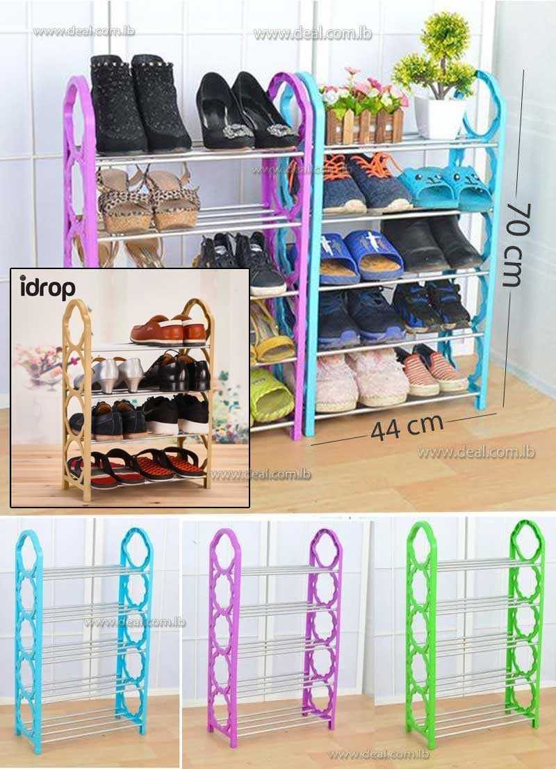 Five Layer Plastic Stainless Steel Shoes Shelf Storage Shoe Rack