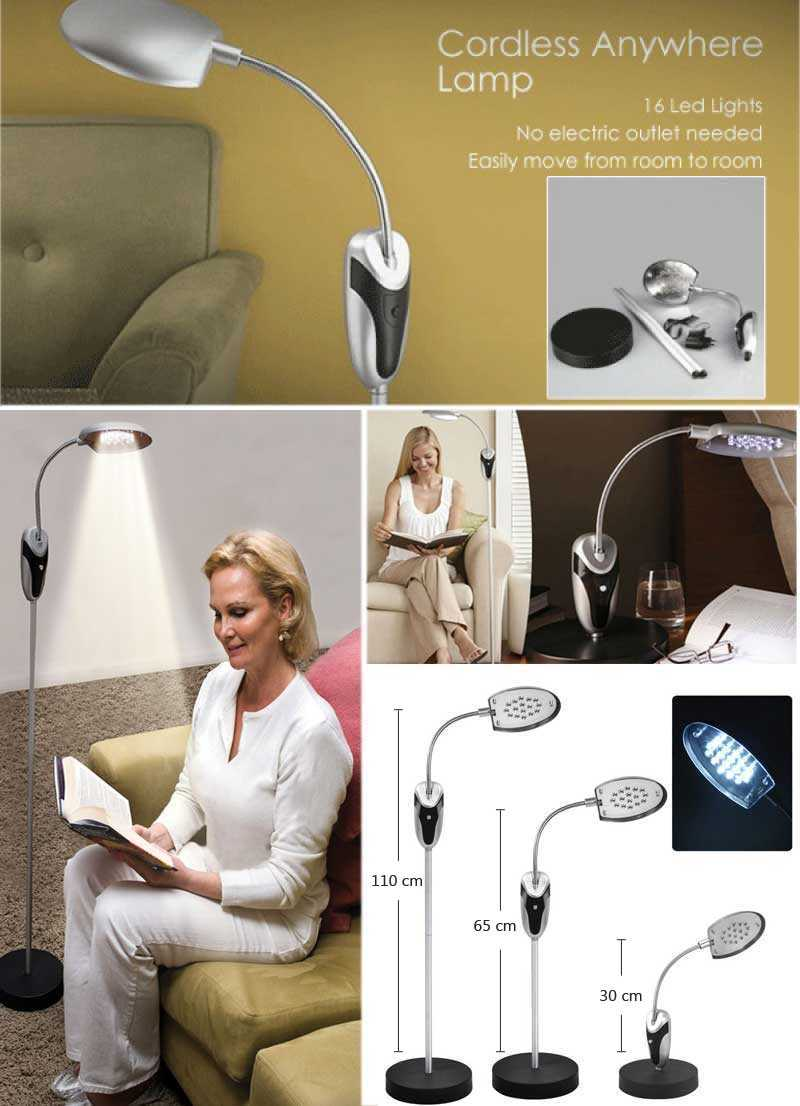 Floor Standing Cordless Reading LED Lamp Book Light