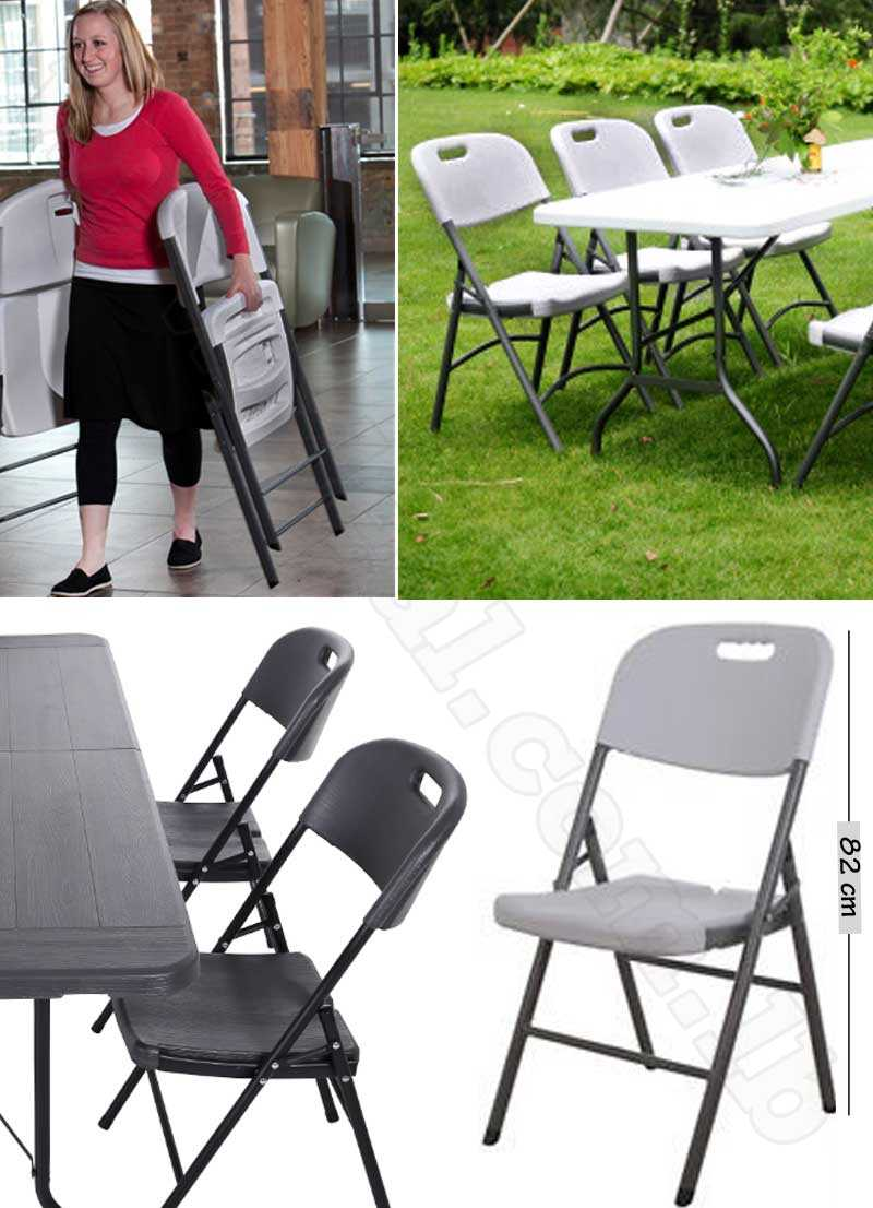Folding Chair Portable Molded Plastic Wooden Pattern
