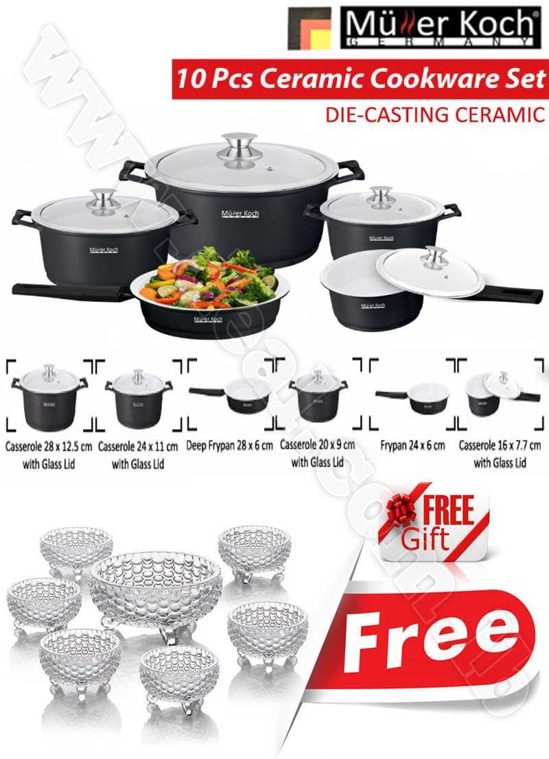 Free Gift Glass Bowls With Muller Koch Die Casting Ceramic 10 PCS Cookware Set