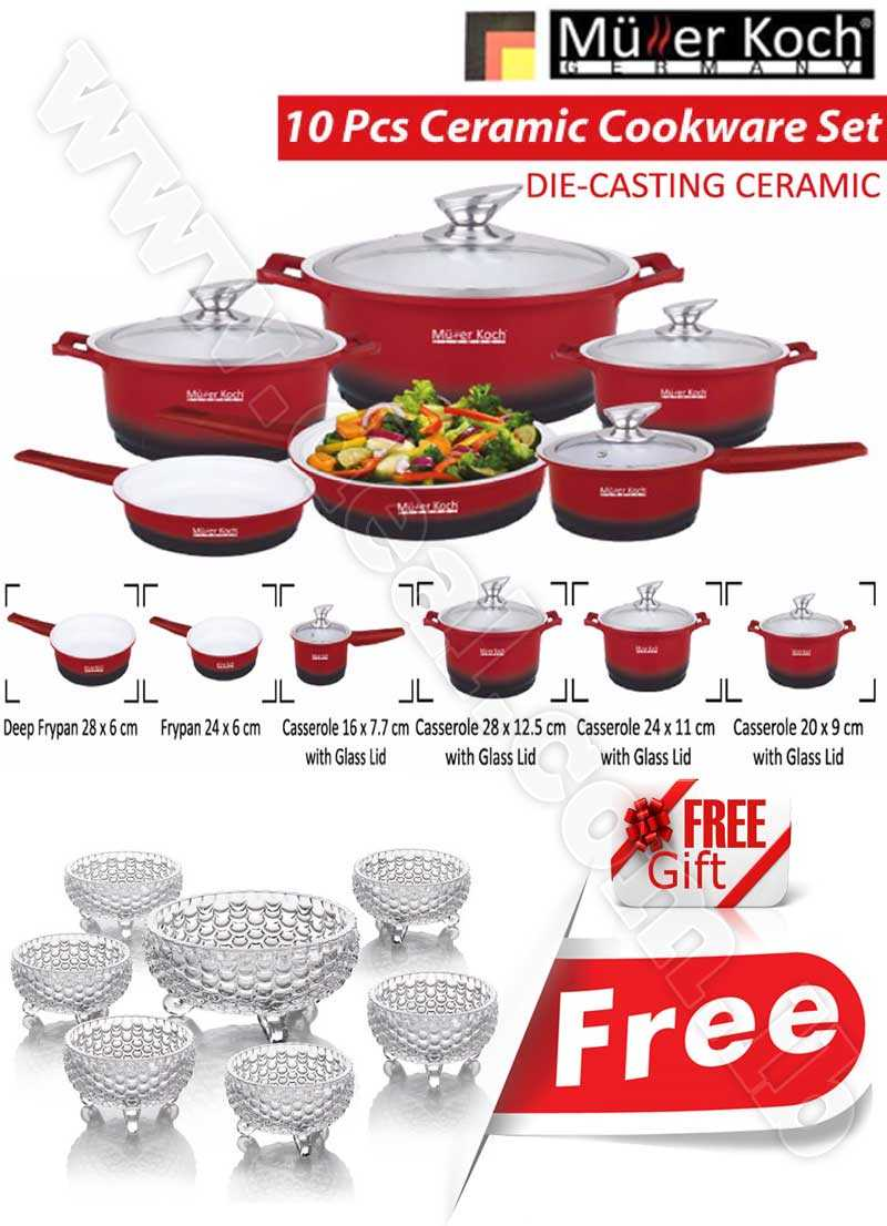 Free Gift Glass Bowls With Muller Koch Die Casting Ceramic 10 PCS Cookware Set Red Color