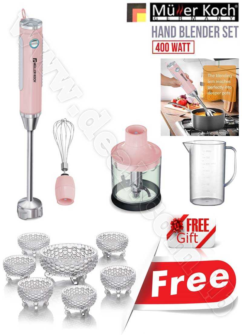 Free Gift Glass Bowls With Muller Koch Hand Blender Set 400 WATT