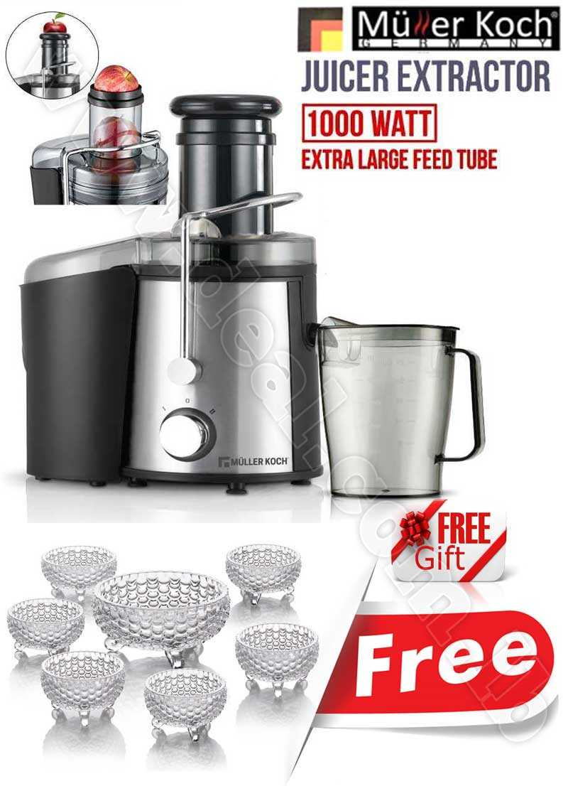 Free Gift Glass Bowls With Muller Koch Juicer Extractor 1000 WATT SS