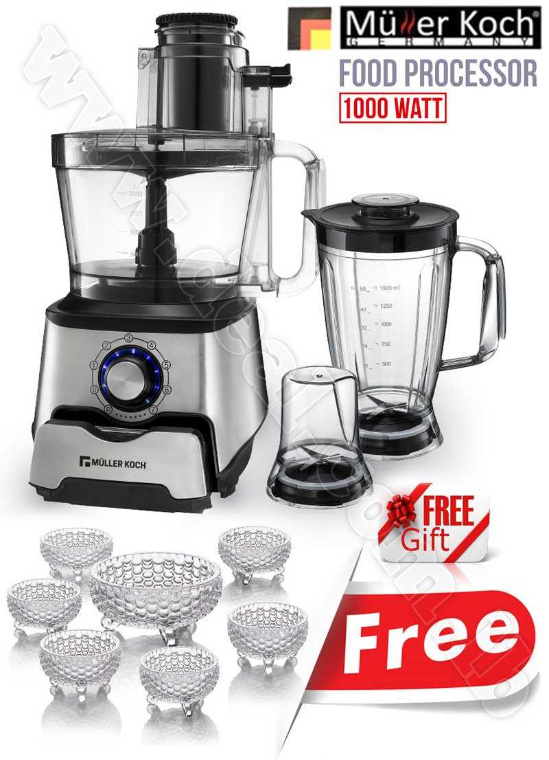 Free Gift Glass Bowls With Muller Koch Multi Function Food Processor 1000 WATT