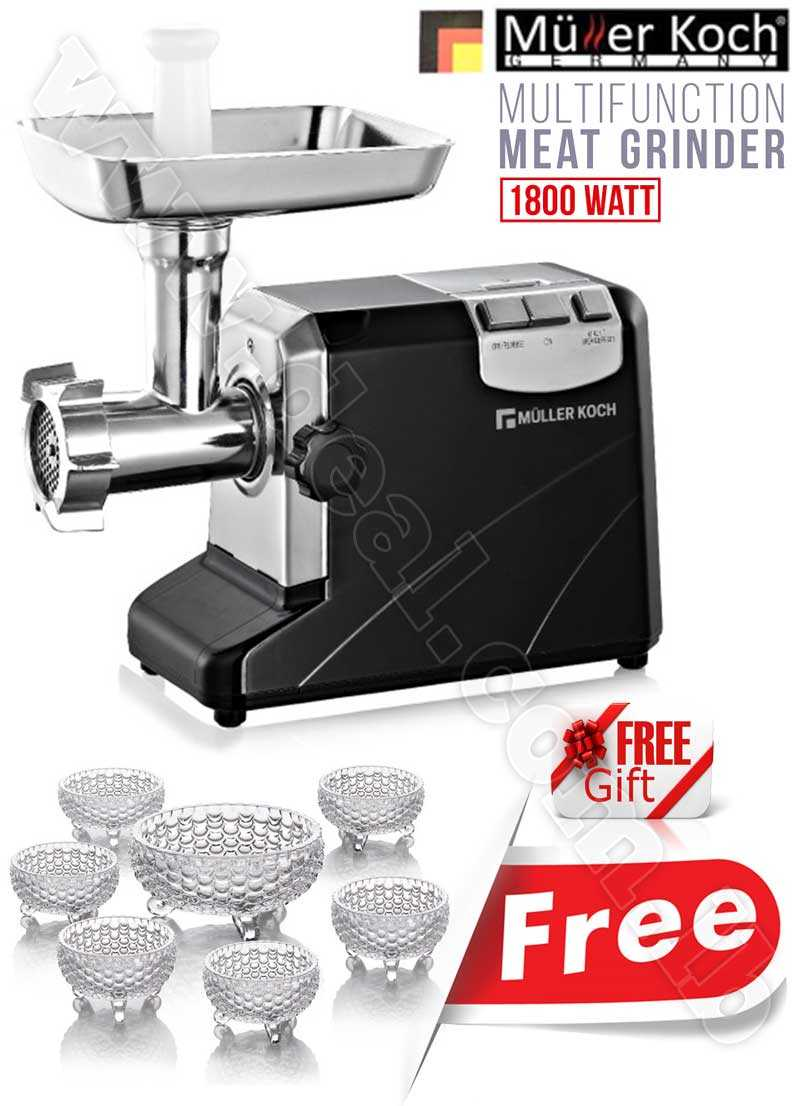 Free Gift Glass Bowls With Muller Koch Multi Function Meat Grinder 1800 WATT