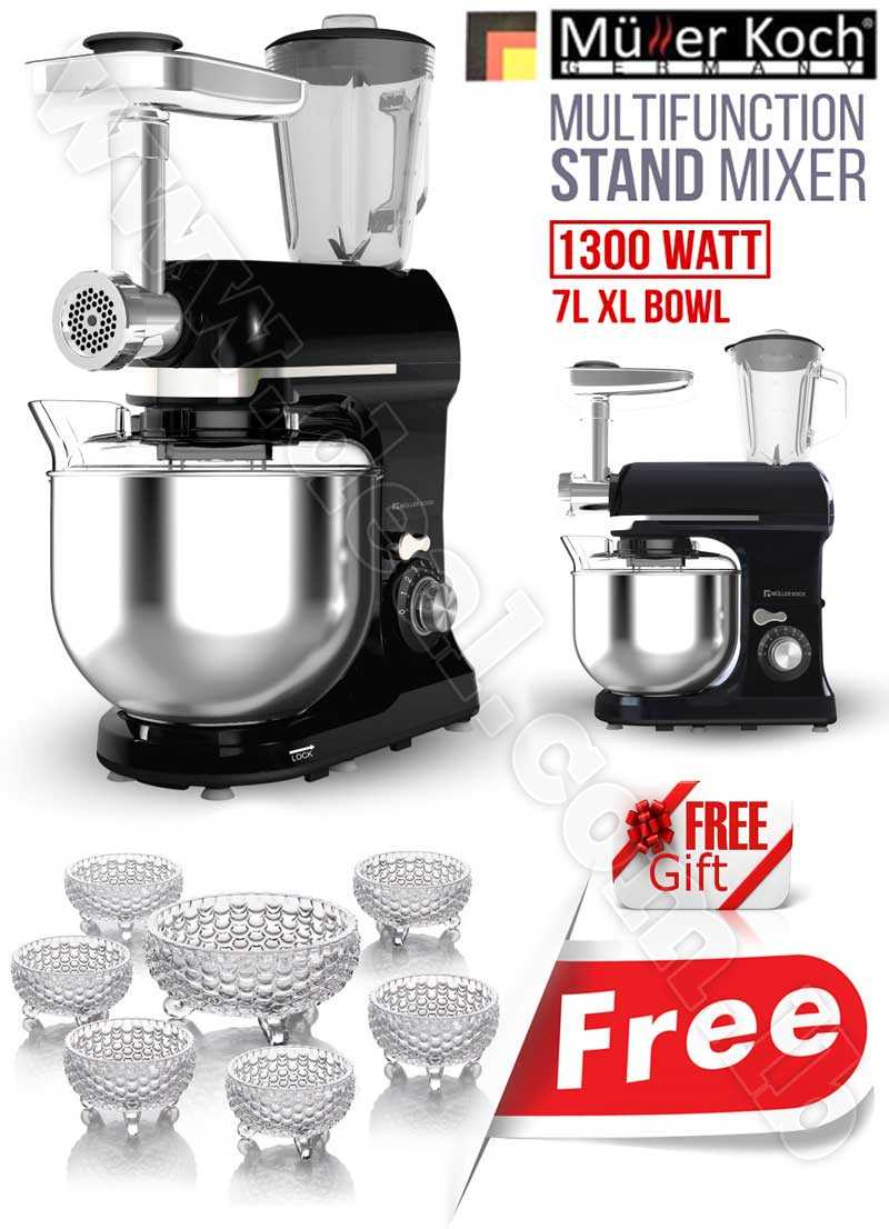 Free Gift Glass Bowls With Muller Koch Multi Function Stand Mixer  7 LITER XL 1300 WATT
