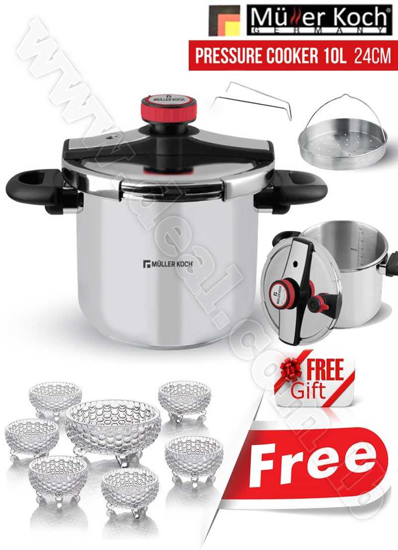 Free Gift Glass Bowls With Muller Koch Pressure Cooker 10L
