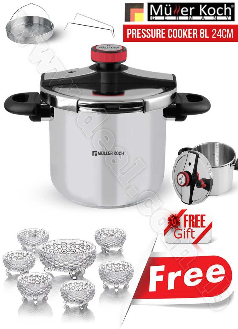 Free Gift Glass Bowls With Muller Koch Pressure Cooker 8L