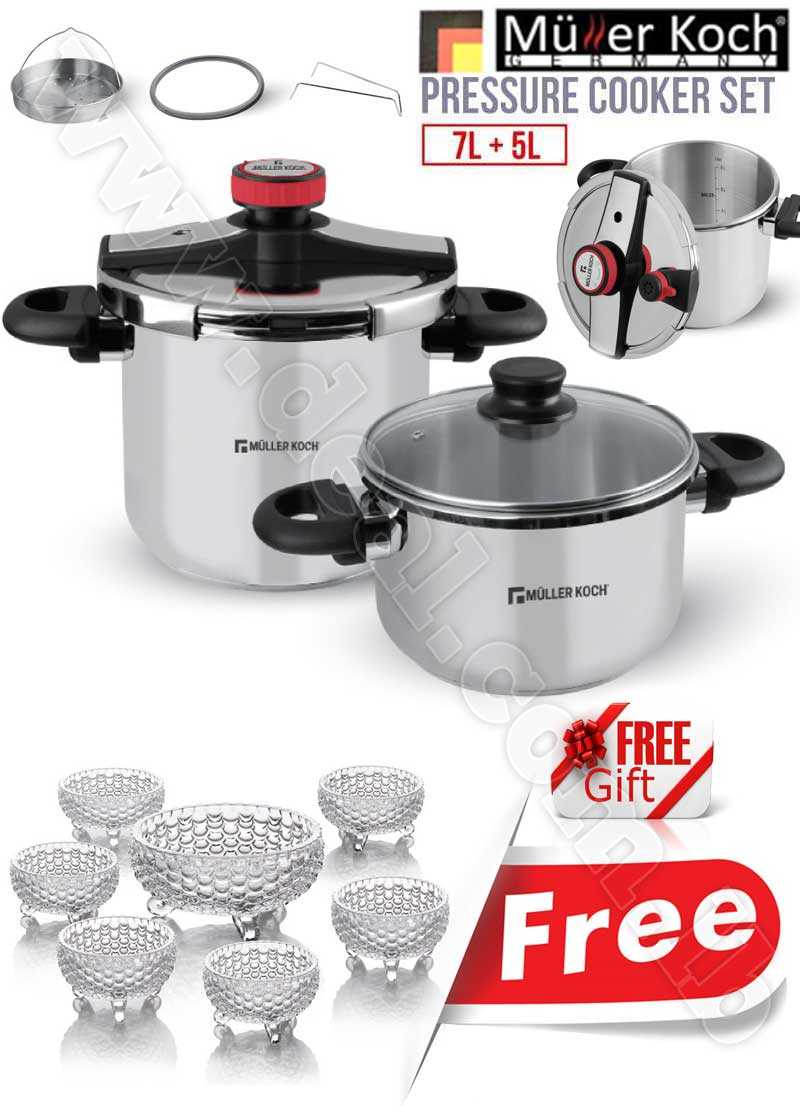 Free Gift Glass Bowls With Muller Koch Pressure Cooker Set