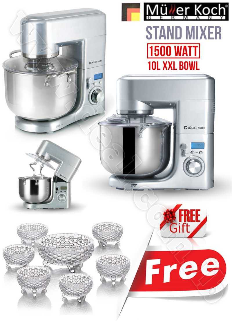 Free Gift Glass Bowls With Muller Koch Professional Stand Mixer 10 LITER 1500 WATT