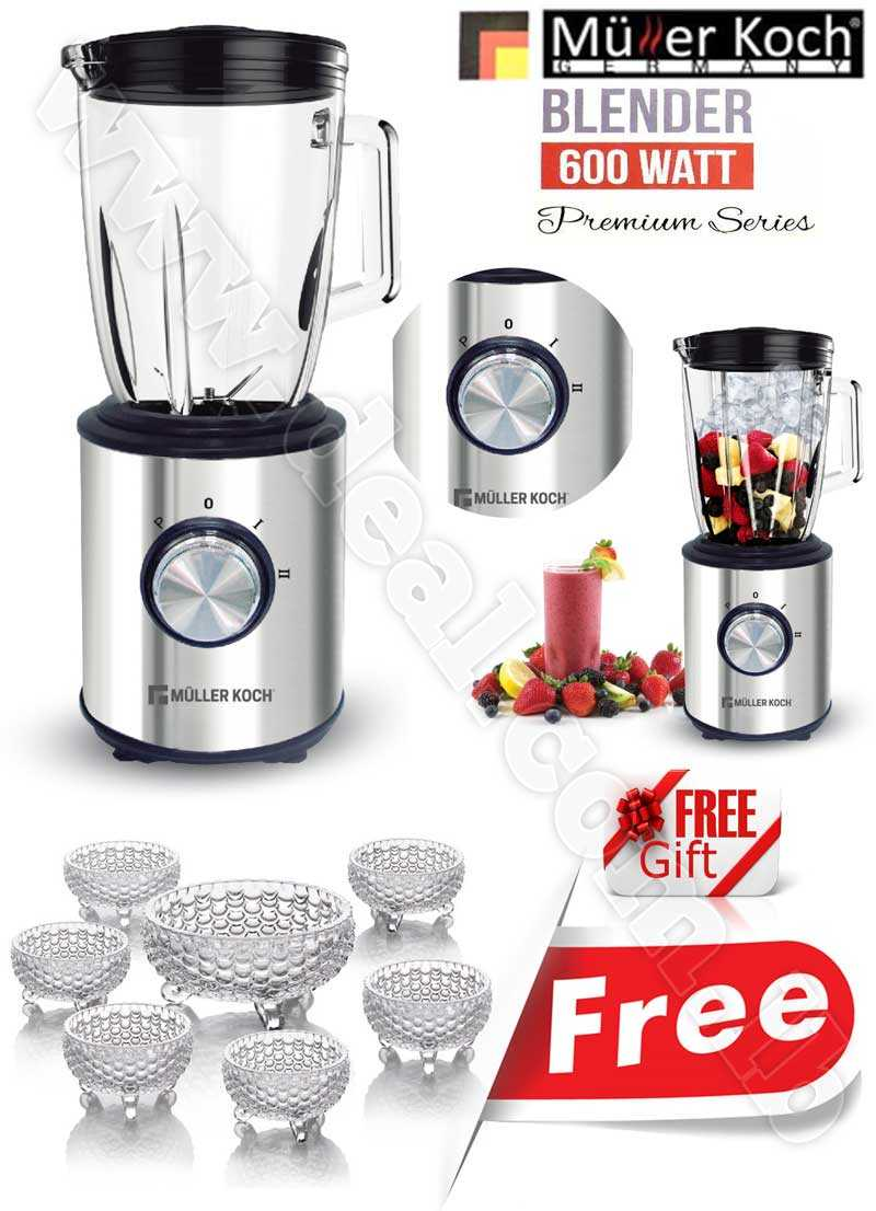 Free Gift Glass Bowls With Muller Koch Stainless Steel Ice Crusher & Blender 600 W
